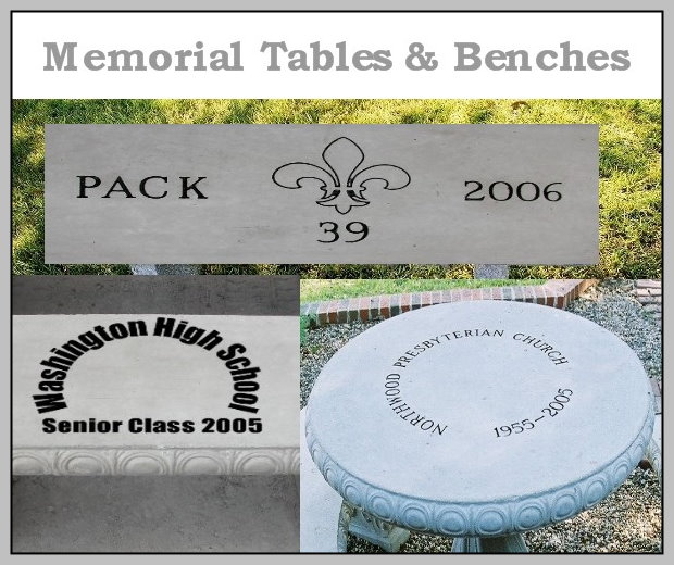 Memorial precast tables and benches