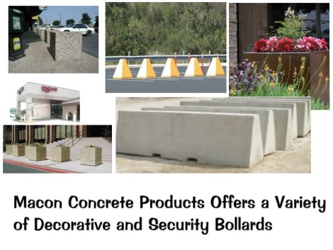 Commercial precast security bollards and planters