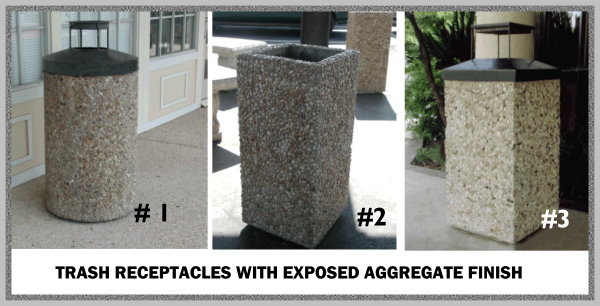 Precast Trash Receptacles With Exposed Aggregate Finish